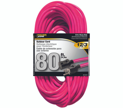 Power Zone ORN513833 Extension Cord 12/3 80 Foot Neon Pink