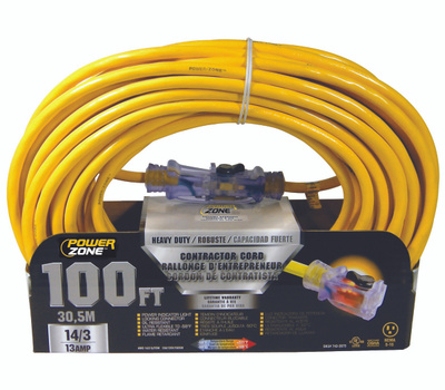 Power Zone ORP511735 Contractor Cord, 14 Awg, Yellow Jacket, 100 Ft L