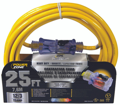 Power Zone ORP511825 Contractor Cord, 12 Awg, Yellow Jacket, 25 Ft L