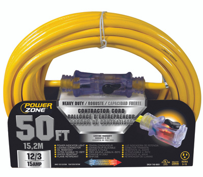Power Zone ORP511830 Contractor Cord, 12 Awg, Yellow Jacket, 50 Ft L