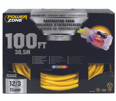 Power Zone ORP511835 Contractor Cord, 12 Awg, Yellow Jacket, 100 Ft L