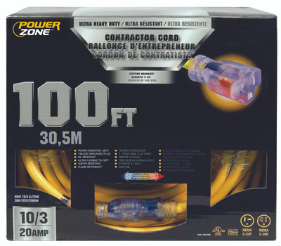 Power Zone ORP711935 Contractor Cord, 10 Awg, Yellow Jacket, 100 Ft L