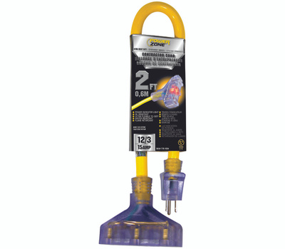 Power Zone ORADL611802 Contractor Cord, 12 Awg, Yellow Jacket, 2 Ft L
