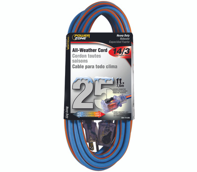 Power Zone ORC530725 Extension Cord, 14 Awg, Blue/Orange Jacket, 25 Ft L