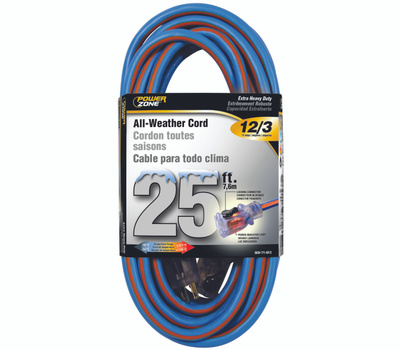 Power Zone ORC530825 Extension Cord, 12 Awg, Blue/Orange Jacket, 25 Ft L