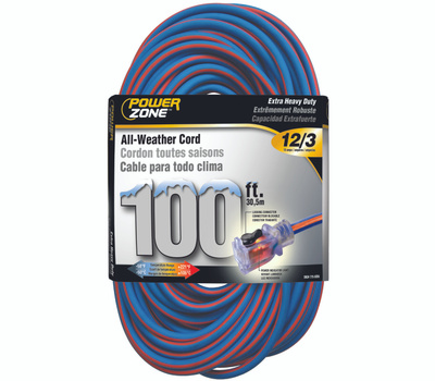 Power Zone ORC530835 Cord Ext12/3x100ft Blu/Org Stp