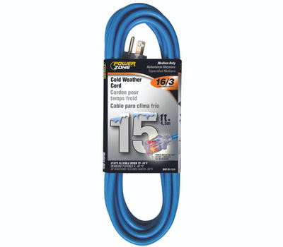 Power Zone ORCW511615 Extension Cord, 16 Awg, Blue Jacket, 15 Ft L