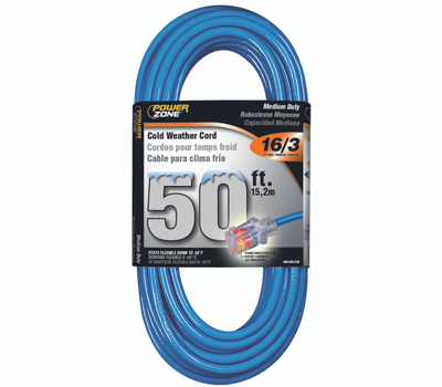Power Zone ORCW511630 Extension Cord, 16 Awg, Blue Jacket, 50 Ft L