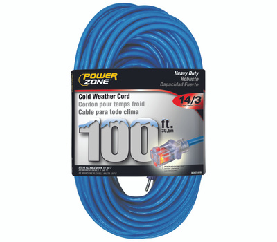 Power Zone ORCW511735 Extension Cord, 14 Awg, Blue Jacket, 100 Ft L