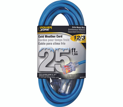 Power Zone ORCW511825 Extension Cord, 12 Awg, Blue Jacket, 25 Ft L