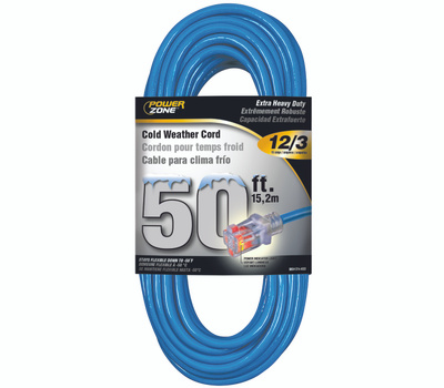 Power Zone ORCW511830 Extension Cord, 12 Awg, Blue Jacket, 50 Ft L