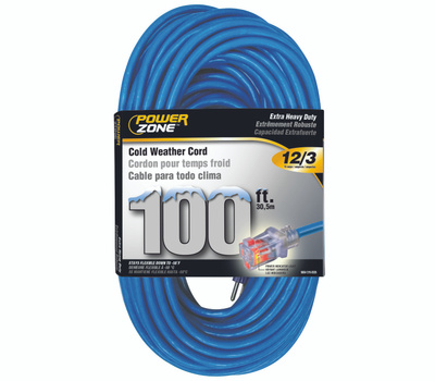 Power Zone ORCW511835 Extension Cord, 12 Awg, Blue Jacket, 100 Ft L
