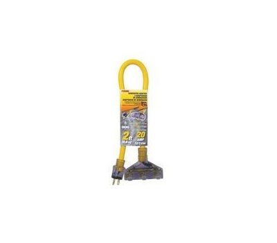 Prime Wire GCT12802 Prime-Line Stow Adapter, 20 a, 3'12/3 Awg, Yellow, 2 Ft L, 125 V