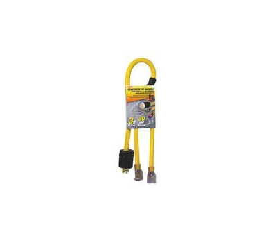 Prime Wire GCT20903 Prime Generator Adapter With Indicator Light, 10/4 Awg Cable, 3 Ft L, Yellow Jacket