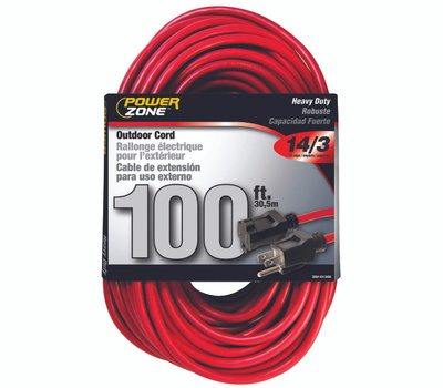 Power Zone OR514735/506735 Extension Cord, 14 Awg, Red, Jacket, 100 Ft L