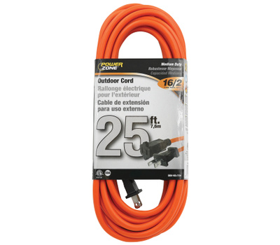 Power Zone OR481625 Cord Ext Otd Or Sjtw 16/2 25ft