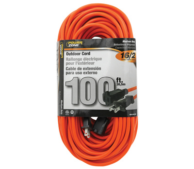Power Zone OR481635 Outdoor Extension Cord, 16 Awg Wire, 100 Ft L, Orange Sheath