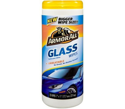 Armor All 10865 Glass Cleaning Wipes, 25 Carton