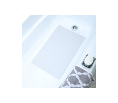 TJD 06401 Safety Bath Mat With Microban, 22 in L, 14 in W, Rubber Mat Surface, White