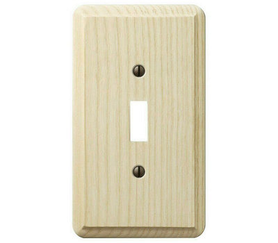 AmerTac 401T Contemporary Toggle Switch Wall Plate 1 Gang Unfinished Ash