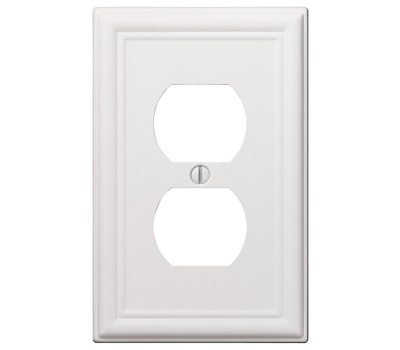 AmerTac 149DW Amerelle Chelsea Duplex Receptacle Wall Plate 1 Gang White