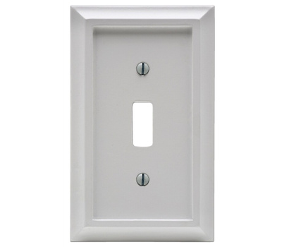 AmerTac 2040TW Deerfield Toggle Switch Wall Plate 1 Gang White Wood