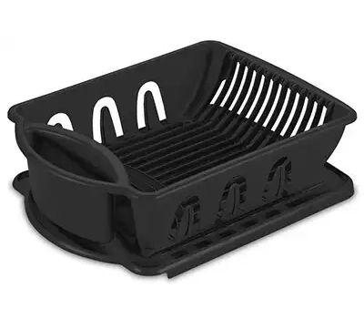 Sterilite 06219006 Dish Drainer And Drainboard 2 Piece Sink Set Black