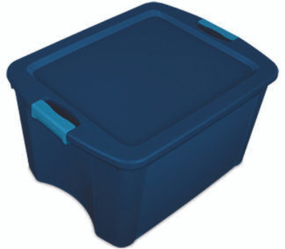 Sterilite 14467406 Latch And Carry Tote True Blue 18 Gallon