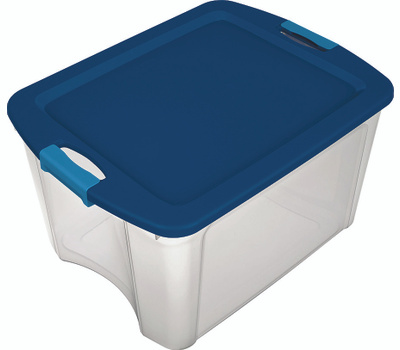 Sterilite 14469606 Latch And Carry Tote True Blue Lid See Through Base 18 Gallon