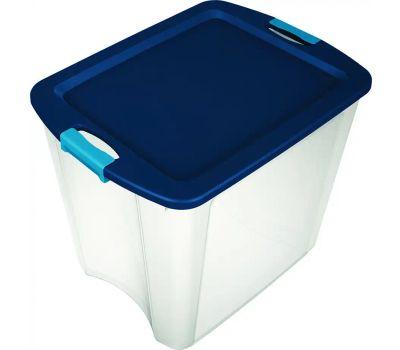 Sterilite 14489604 Tote Latch And Carry Clear Tru Blue 26 Gallon