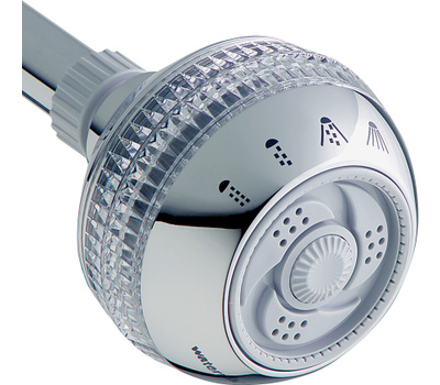 Waterpik SM-423E Sm-423cge Fixed Showerhead, Round, 1.8 Gpm, 1/2 in Connection, Plastic, Chrome, 3-1/4 in Dia, 3-1/4 in W