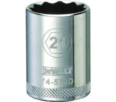DeWalt DWMT74578OSP Drive Socket, 21 Mm Socket, 1/2 in Drive, 12 -Point, Vanadium Steel, Polished Chrome