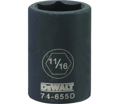 DeWalt DWMT74655OSP Impact Socket, 11/16 in Socket, 1/2 in Drive, 6 -Point, Cr-440 Steel, Black Oxide