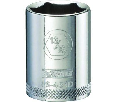 DeWalt DWMT86451OSP Drive Socket, 13/16 in Socket, 1/2 in Drive, 6 -Point, Steel, Polished Chrome Vanadium