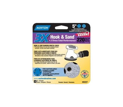 Norton 03227 Hook & Sand 5 Inch Universal 5+8 Hole Cerma Alumina Sanding Discs 220 Grit Very Fine 3 Pack