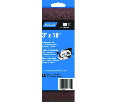 Norton 02246 3X 3 By 18 Inch Aluminum Oxide Sanding Belts Cloth 50 Grit Coarse 2 Pack