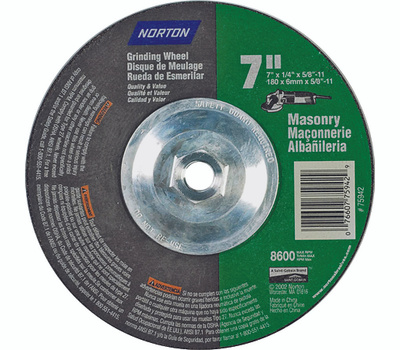 Norton 07660775942 7 By 1/4 By 5/8-11 Masonry Wheel Type 27