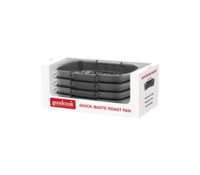 Bradshaw 04116 Quick Baste Roast Pan, 25 Pound Capacity, Gray, 19.7 in L, 14.8 in W, 15.95 in H, Dishwasher Safe: Yes