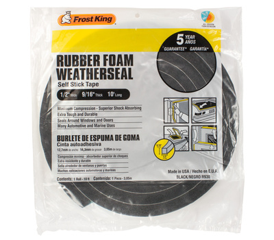 Thermwell R930H Frost King 9/16 Inch By 10 Foot Black Rubber Foam Weather Seal With Self Stick Tape