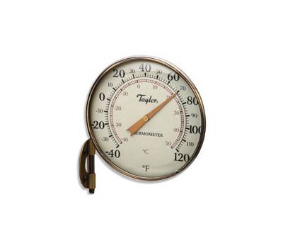 Taylor 481BZN Dial Thermometer, 4-1/4 in Display, -40 to 120 Deg F, Aluminum Casing