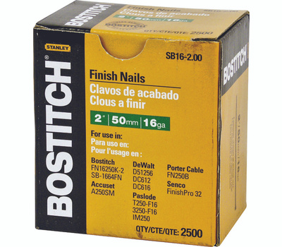 Stanley Bostitch SB16-2.00 Straight Finish Nails 2 Inch 16-Gauge 2500 Pack