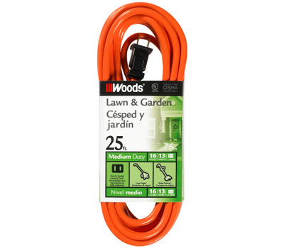 Southwire 0722 Woods 25 Foot 16/2 Sjtw Extension Cord Orange