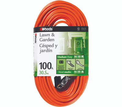 Southwire 0724 Woods 100 Foot 16/2 Sjtw Extension Cord Orange