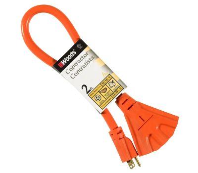 Coleman Cable 990824 Woods 3 Outlet Outdoor 12 Gauge Orange Contractor Power Block 2 Feet