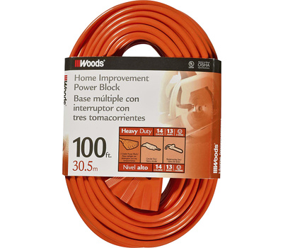 Southwire 0827 Woods 100 Foot 14/3 Sjtw 3 Outlet Power Block