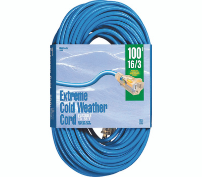 Southwire 2436 Woods 100 Foot 16/3 10 Amp Blue Coldflex Cord