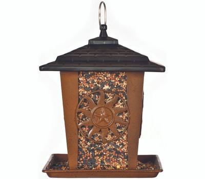 Perky Pet 370 Seed Lantern Feeder, Sun, Star, 3 Pound, Metal, Brown, 10.26 in H, Hanging/Pole Mounting