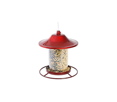 Perky Pet 312R Panorama Bird Feeder, 9 in H, Perch, 2 Pound, Red, Powder-Coated Red Sparkle