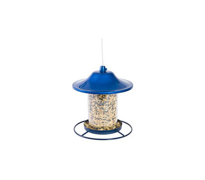 Perky Pet 312B Panorama Bird Feeder, 9 in H, Perch, 2 Pound, Blue, Powder-Coated Blue Sparkle