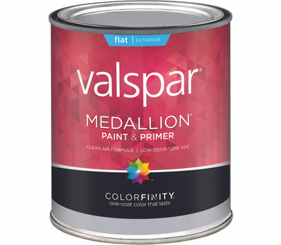 Valspar 45501 Medallion Paint Exterior Flat Latex White Quart